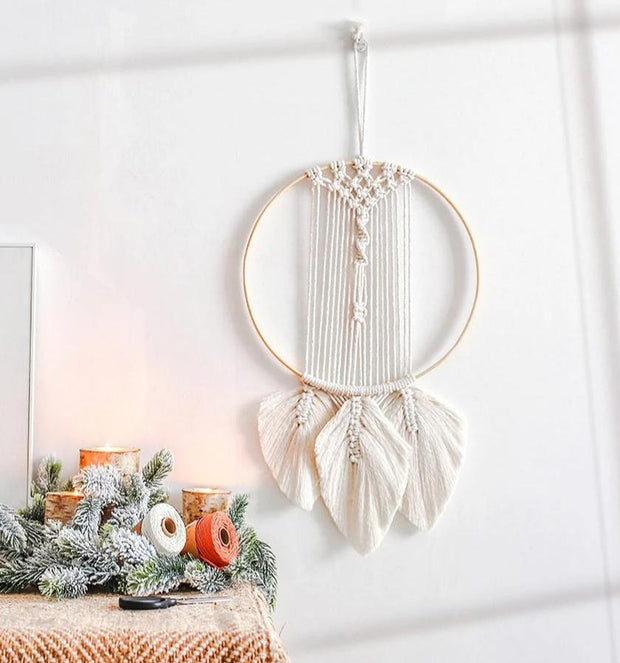 Boho Macrame Feathered Tapestry