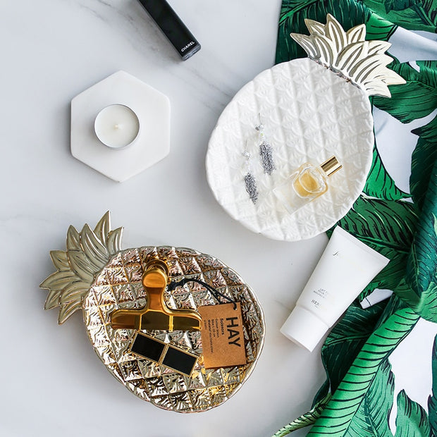 Gold Pineapple & Leaf Ceramic Plates