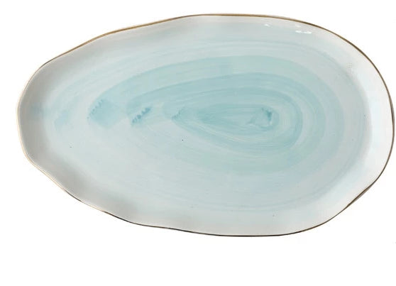 Celeste Glazed Serving Plate, Ocean