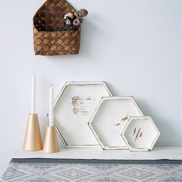Olive Distressed White Trays, Hexagon
