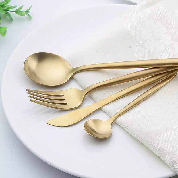 Lina Gold Flatware, 4 Piece Place Settings