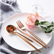 Lina Rose Gold Flatware, 4 Piece Place Settings