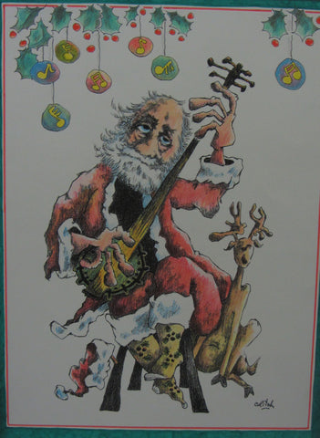 Santa Unplugged and Unshod, colored pencil by Ralph Critchlow