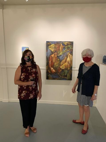 Nada Hildebrand and Susan Gibbs at the Madelyn Hamilton gallery opening