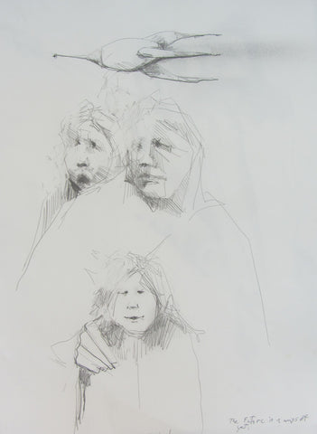 The Future is a Ways Off Now, pencil sketch by Michael Hermesh