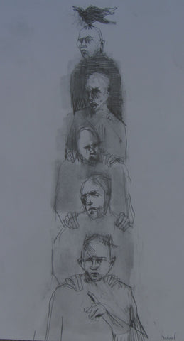 The Totem, pencil sketch by Michael Hermesh