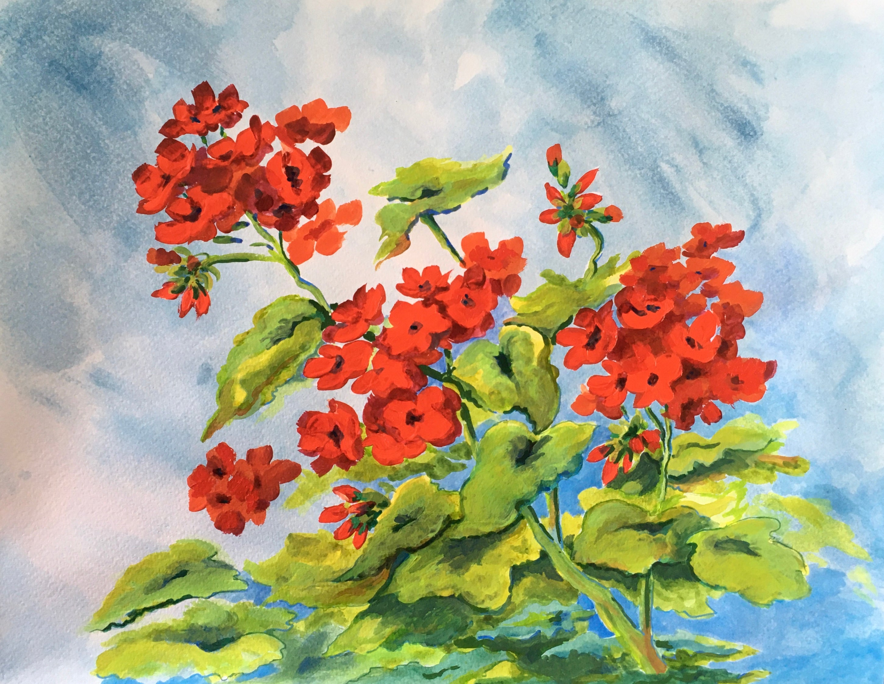 Geraniums - Acrylic on Fabriano WC paper - $80