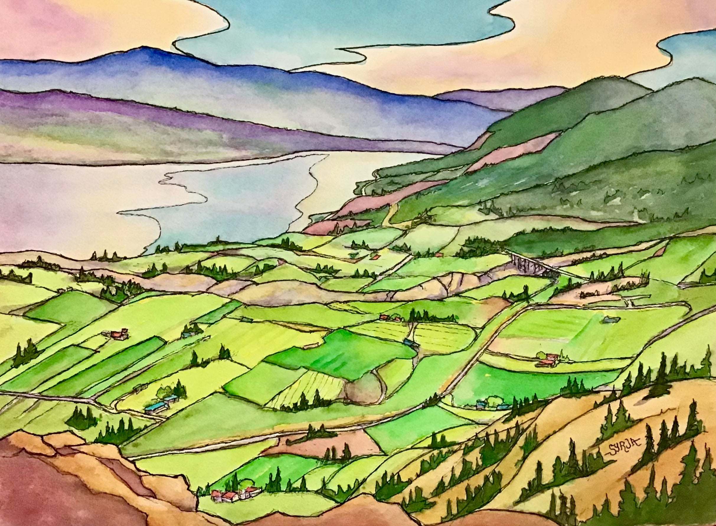 From Giants Head Mountain - Framed watercolour - $395