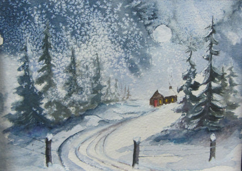 Home for Christmas, watercolour by Mary Scales