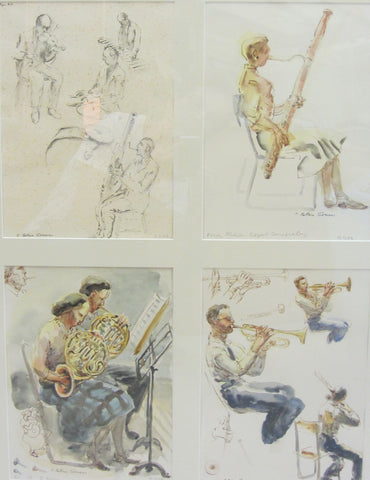 Four Studies: Royal Conservatory, ink and wash by Bettina Somers