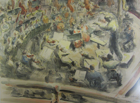 Rehearsal for Jewish Choir, ink and wash by Bettina Somers