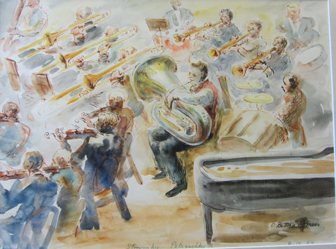 Stravinsky Petrouchka, ink and wash by Bettina Somers