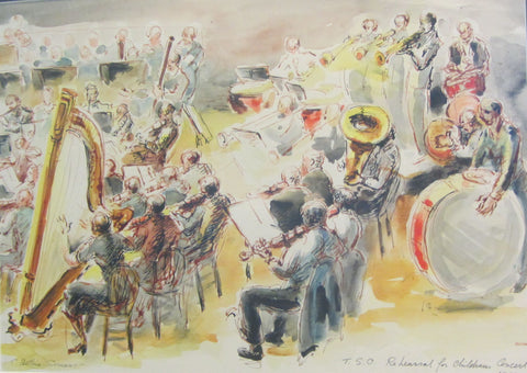 TSO Rehearsal for Children's Concert, ink and wash by Betting Somers