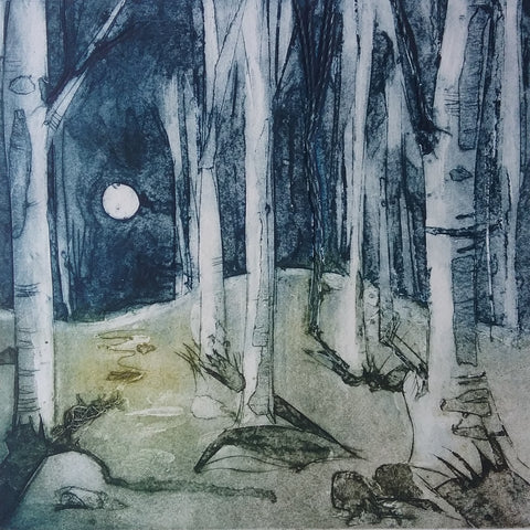 Moonlit Forest, Callagraph print by Elaine Watts
