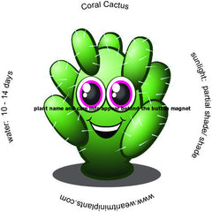 Coral Cactus Caricature Magnet - WearItMiniPlants