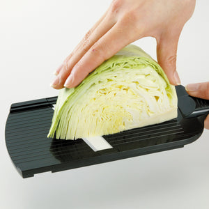 Mandoline Slicer, adjustable, black, plastic/ceramic, dimensions: 27.7 x 9.2 x 1.6 cm