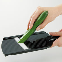 Load image into Gallery viewer, Mandoline Slicer, adjustable, black, plastic/ceramic, dimensions: 27.7 x 9.2 x 1.6 cm
