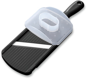 Mandoline Slicer, double-edged, black, plastic/ceramic, dimensions: 27.7 x 9.2 x 1.6 cm