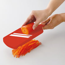 Load image into Gallery viewer, Julienne Slicer, red, plastic/ceramic, dimensions: 27.7 x 9.2 x 1.6 cm