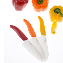 Load image into Gallery viewer, Cut&Peel Set RED: Santoku Knife & Horizontal Peeler, plastic/ceramic, blade length: 14 cm