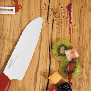 Cut&Peel Set RED: Santoku Knife & Horizontal Peeler, plastic/ceramic, blade length: 14 cm