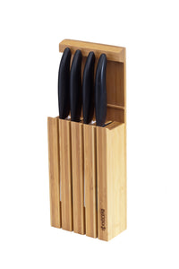 Bamboo Knife Block, for counter, wall or kitchen drawer, for up to 4 knives, dimensions: 34 x 12.3 x 6.6 cm
