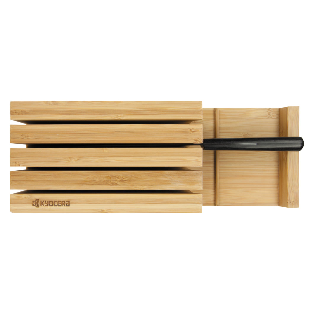 Bamboo Knife Block, 4 knives included (GEN series: Santoku Knife, Slicing Knife, Utility Knife, Paring Knife), dimensions: 34 x 12.3 x 6.6 cm