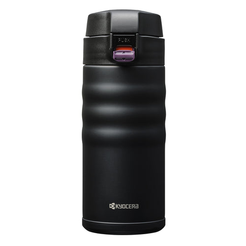 FLIP TOP - Travel Mug, black (350 ml), stainless steel/ceramic, height: 17.5 cm
