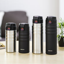 Load image into Gallery viewer, FLIP TOP - Travel Mug, black (500 ml), stainless steel/ceramic, height: 22.5 cm