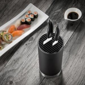Soft-Touch Knife Block with Santoku Knife and Utility Knife, plastic, dimensions: 11 x 11 x 24.5 cm