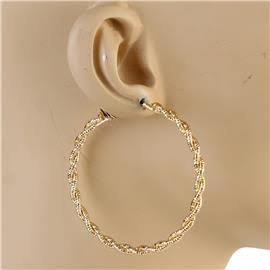 60mm Metal Braided Earrings
