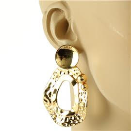 Metal Hammered Oval Earring