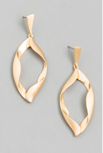 Hanging Twisted Metal Teardrop Earrings
