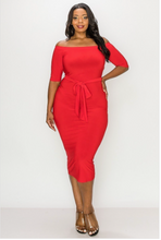 Load image into Gallery viewer, Off The Shoulder Midi Dress