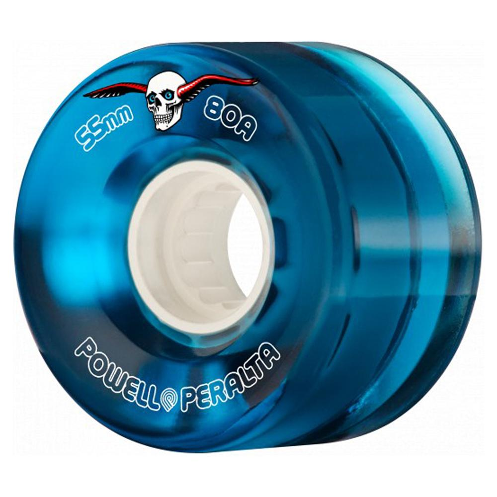 Powell Peralta Clear Cruiser Skateboard Wheels Blue 55mm 80A
