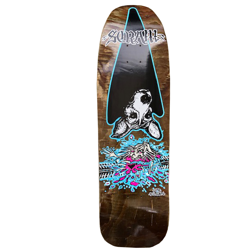Scram Overkill Skateboard Deck size 9.5 - wood stains vary