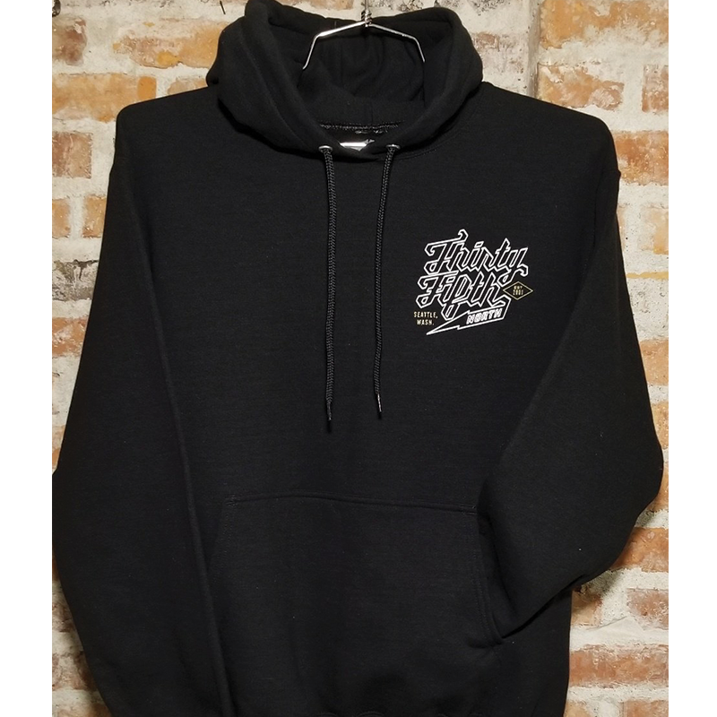 35th North Barr Outline Hooded Sweatshirt (Black)