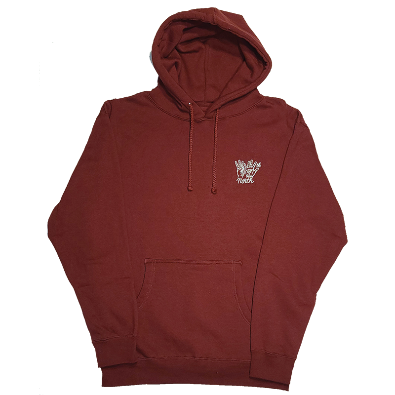 35th North Hand Signs Burgundy Hooded Sweatshirt