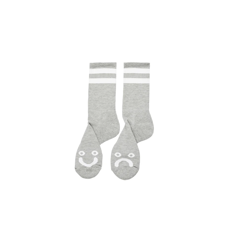 Polar Skate Co. Happy Sad Socks - Heather Grey