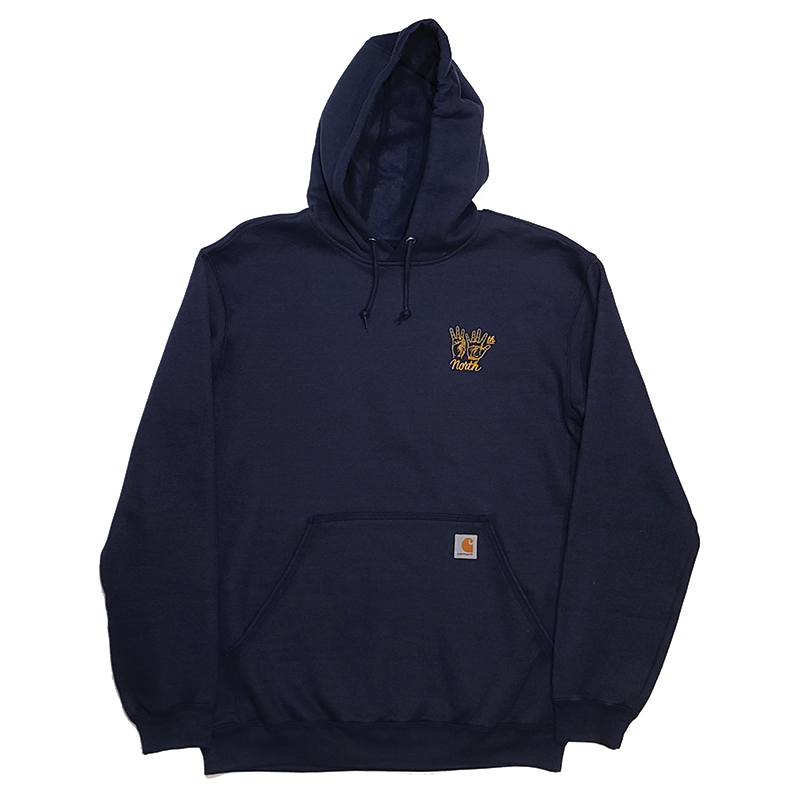 35th North Carhartt Hand Signs Hooded Sweatshirt Navy / Gold