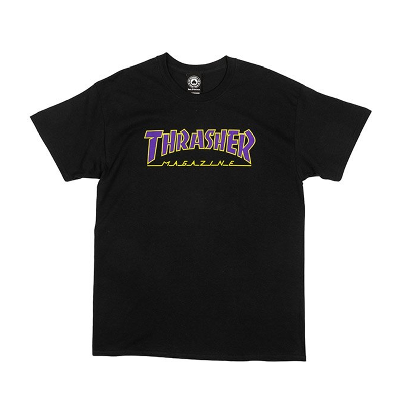 Thrasher Outlined T-Shirt Black/Purple