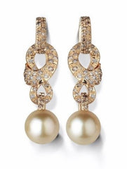 Mikimoto 18ct Yellow Gold Champagne Pearl Drop Earrings