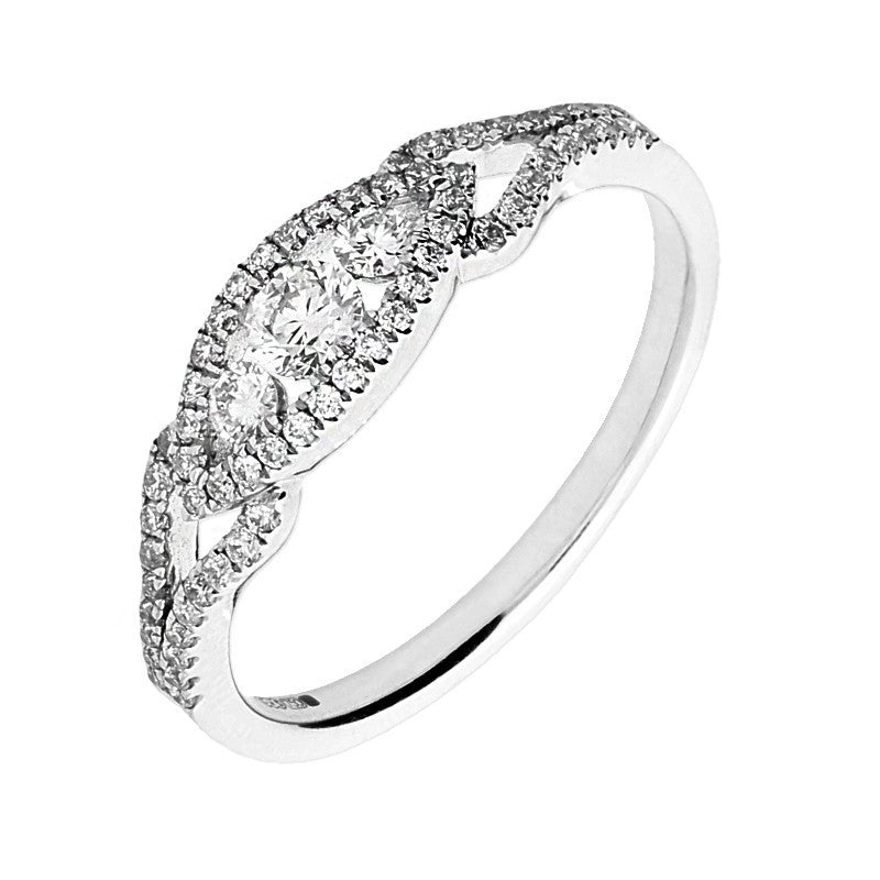 18ct White Gold Pave Shoulder Set 0.46 Carat Diamond Ring
