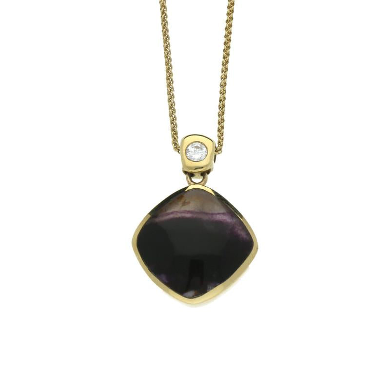 Blue John Necklace Cushion Design With Diamond 9ct Yellow Gold