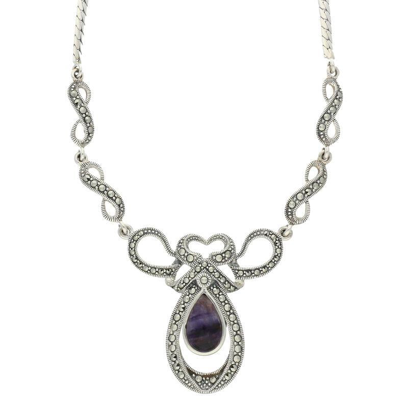 Blue John Necklace Pear drop Twist Marcasite Silver