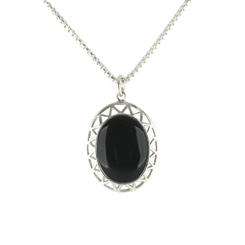 Whitby Jet Necklace Oval Stone and Triangular detailing Silver