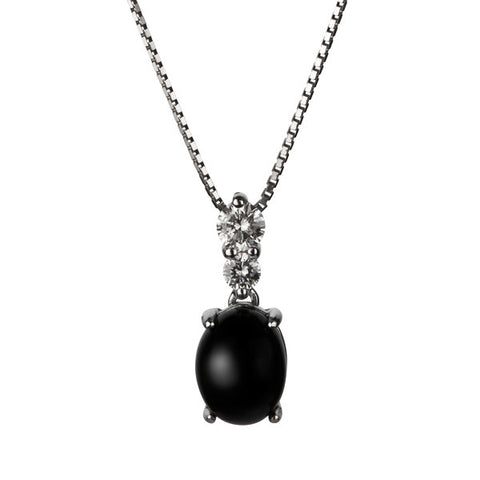 Whitby Jet Pendant Diamond 18ct White Gold