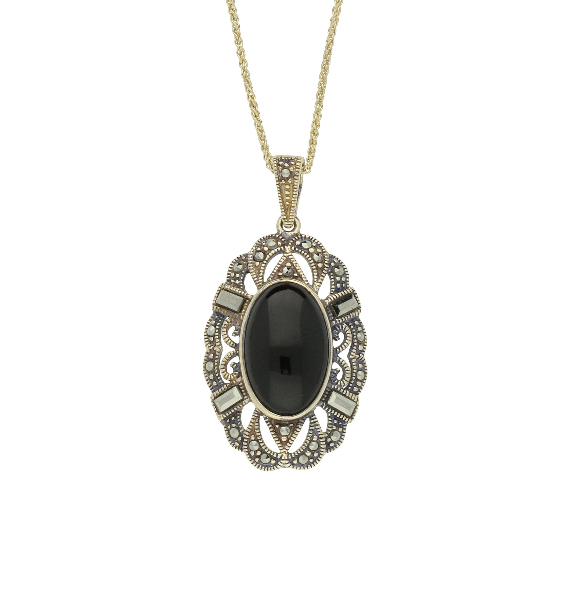 Whitby Jet Necklace Oval Lace Marcasite 9ct Yellow Gold