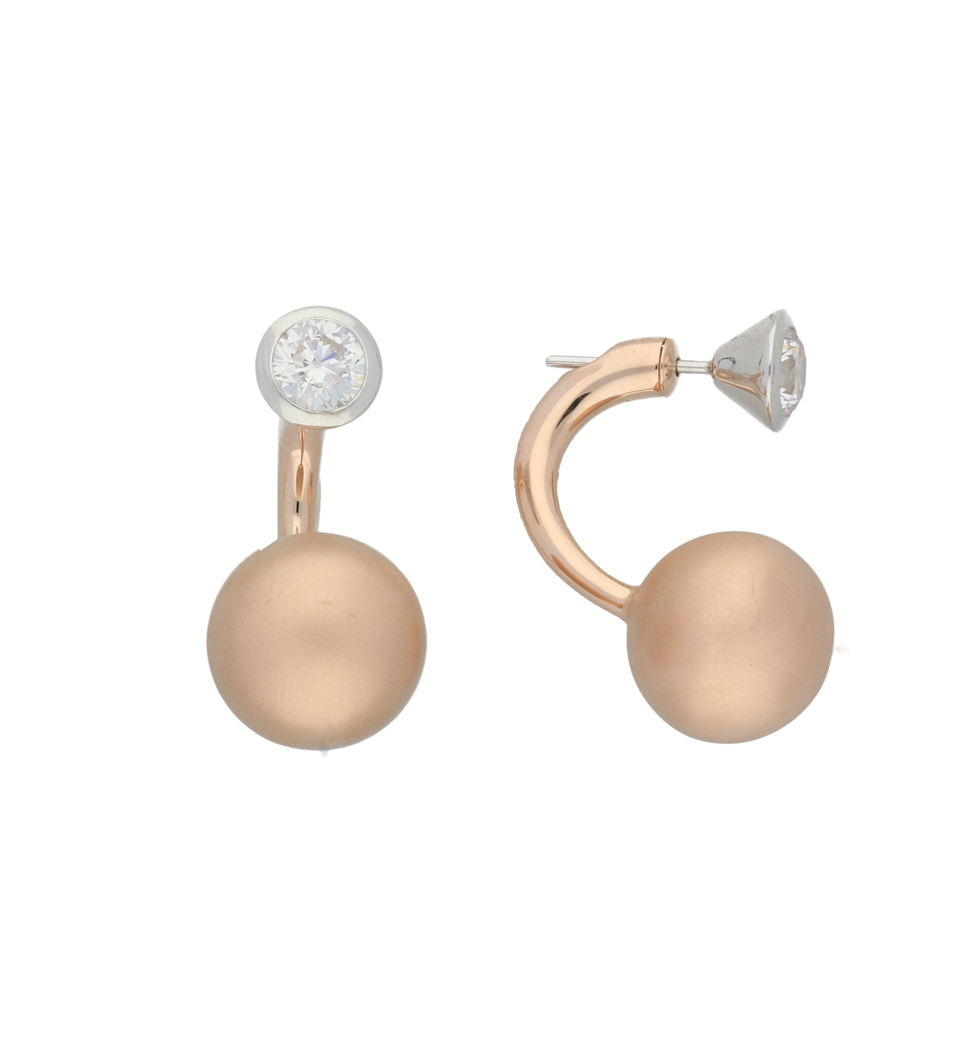 C W Sellors Earrings Front Back Rose Gold Plating And CZ