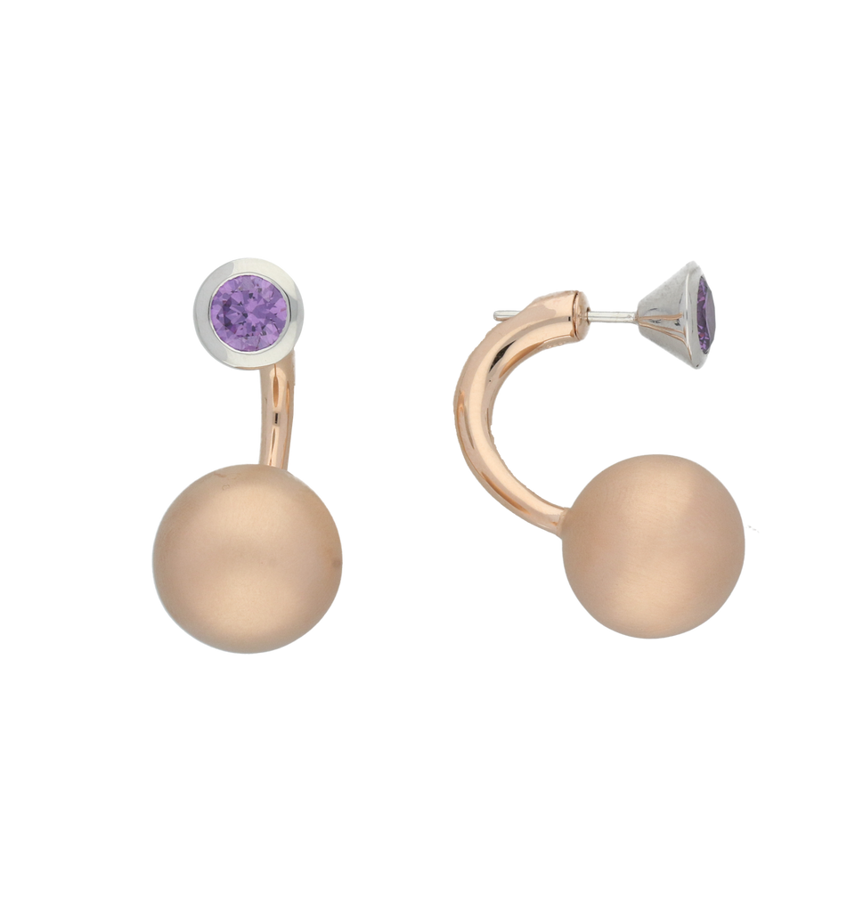 C W Sellors Earrings Front Back Rose Gold Plating And Purple CZ